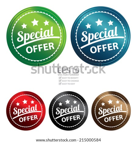 Vector : Colorful Circle Metallic Style Special Offer Icon, Sticker, Badge, Tag or Label Isolated on White Background  - stock vector