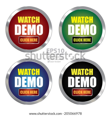 Vector : Colorful Circle Metallic Watch Demo Click Here Label, Sign, Sticker or Icon Isolated on White Background - stock vector