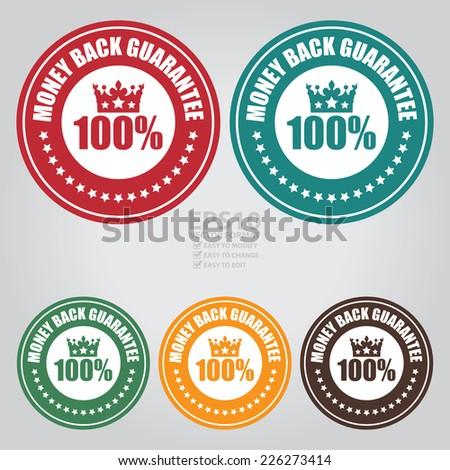 Vector : Colorful Circle 100% Money Back Guarantee Icon, Label or Sticker - stock vector