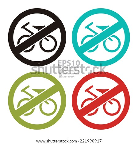 Vector : Colorful Circle No Cycles or No Bicycle Prohibited Sign, Icon or Label Isolate on White Background