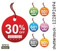 Vector: Colorful Circle 30 - 90 Percent OFF Sale Price Tag Isolated on White Background - stock photo
