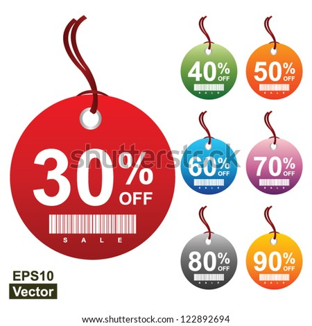 Vector: Colorful Circle 30 - 90 Percent OFF Sale Price Tag Isolated on White Background - stock vector