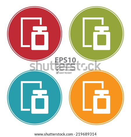 Vector : Colorful Circle Perfume Spray Icon, Sign or Symbol Isolated on White Background  - stock vector