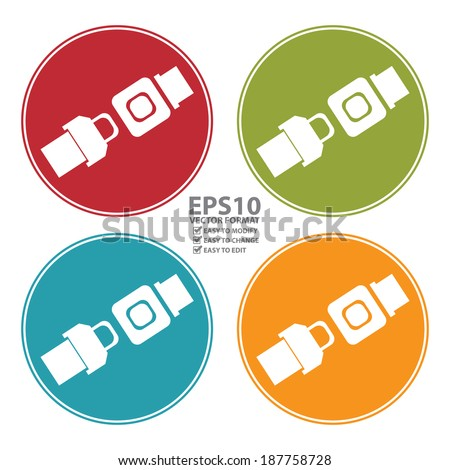 Vector : Colorful Circle Seat Belt or Safety Belt Icon, Sign or Symbol Isolated on White Background - stock vector