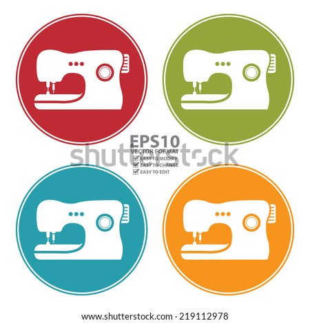Vector : Colorful Circle Sewing Machine Icon, Sign or Symbol Isolated on White Background  - stock vector