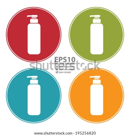 Vector : Colorful Circle Shampoo, Shower Gel, Lotion or Liquid Soap Dispenser Pump Icon, Sign or Symbol Isolated on White Background  - stock vector