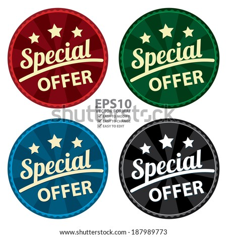 Vector : Colorful Circle Vintage or Retro Style Special Offer Icon, Sticker, Badge, Tag or Label Isolated on White Background