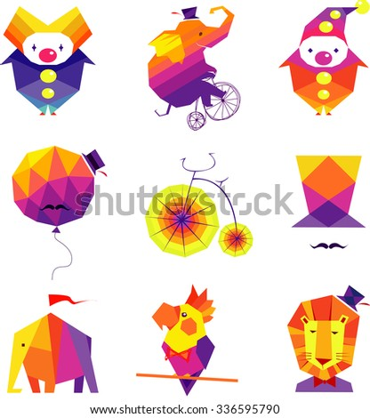 Vector colorful circus icons with a lion, elephant, bicycle, clowns, balloon, top hat, parrot on a white background  - stock vector