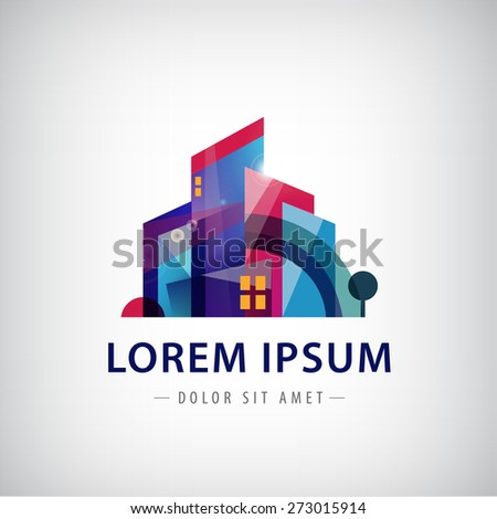 vector colorful city logo, icon - stock vector