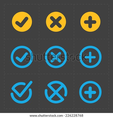 Vector colorful confirm icons set - stock vector