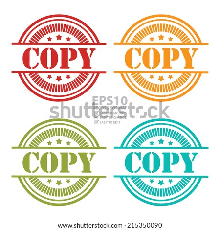 Vector : Colorful Copy Icon,Sticker or Label Isolated on White Background - stock vector
