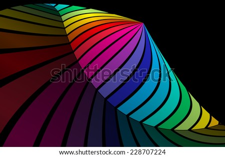 Vector colorful curved background illustration - Vector striped abstract colorful background illustration - stock vector