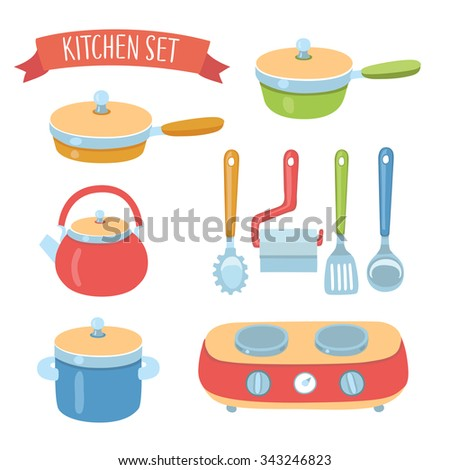 Vector colorful cute collection of  illustration of kitchen  accessories, cookware set and portable stove on isolated background