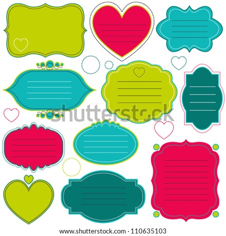 Vector colorful decorative frames set. Flat simple style design collection, can be used as labels, stickers or icons
