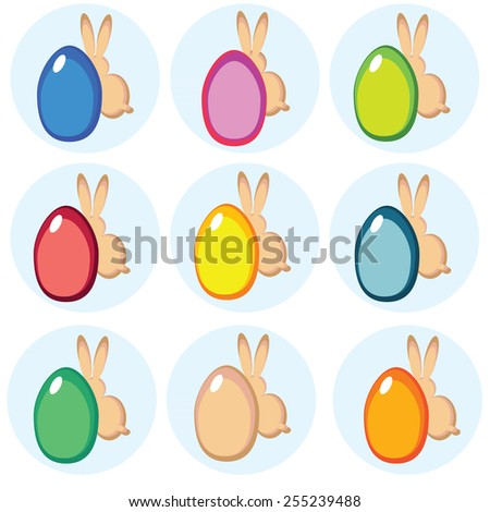 vector colorful design elements for happy easter with eggs and rabbits - stock vector