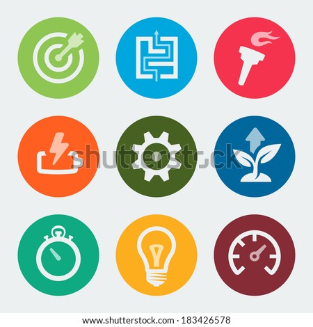 Vector colorful development icons set - stock vector