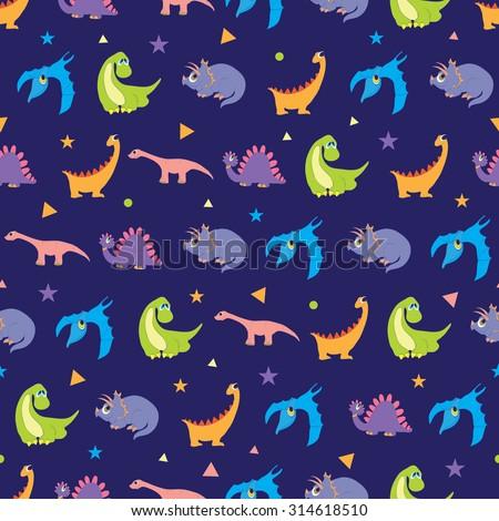 Vector Colorful Dinosaurs Rows Seamless Pattern. Vibrant Stegosaurus, Cute Pterodactyl, Purple Triceratops - stock vector