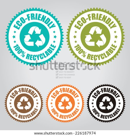 Vector : Colorful Eco-Friendly 100% Recyclable Icon, Sticker, Badge or Label - stock vector