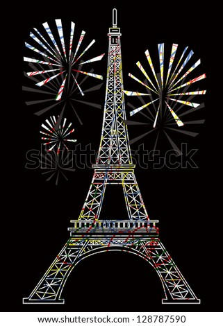 vector colorful eiffel tower - stock vector