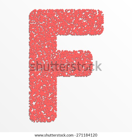 Vector colorful English or Latin alphabet items with grain texture, letter F