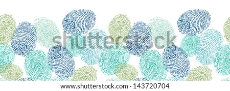 Vector colorful fingerprints horizontal seamless pattern background with hand drawn elements. - stock vector