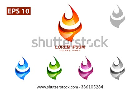 vector colorful flame of fire logo design