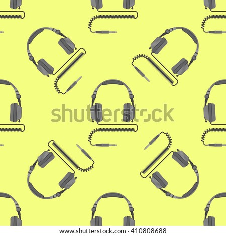 vector colorful flat design electric device dj headphones with cable and jack connector decoration seamless pattern yellow background