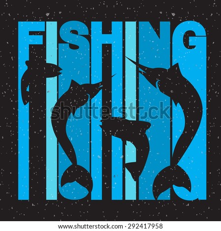 "Vector colorful flat design style illustration of signature ""fishing"" with swordfish and salmon silhouettes. Template for your design, article or print - stock vector"