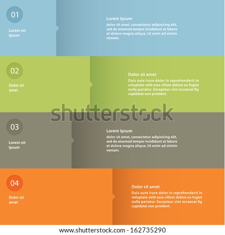 Vector colorful flat design template. Four choices, steps or levels.  - stock vector