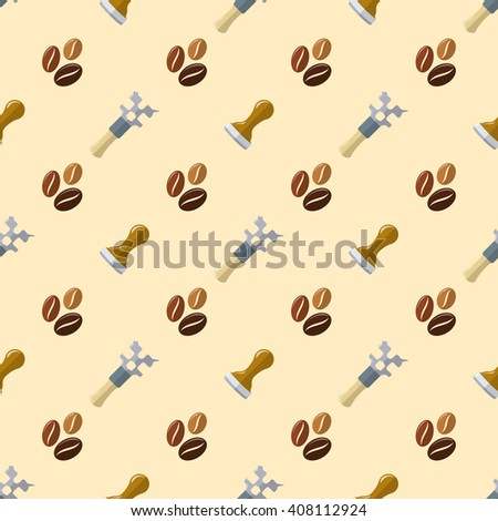 vector colorful flat design various brown coffee beans tamper barista wrench multitool device deco seamless pattern beige background