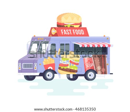 Vector Colorful Flat Fast Food Truck Isolated On White Background