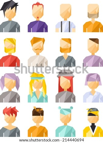 Vector colorful flat geometric set of avatar people  - stock vector