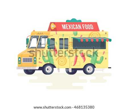 Vector Colorful Flat Mexican Food Truck Isolated On White Background