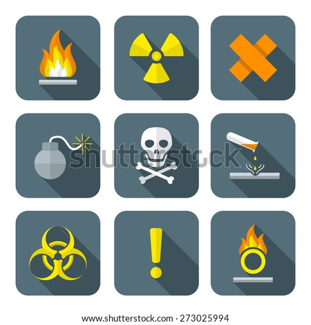 vector colorful flat style hazardous waste symbols warning signs icons long shadows