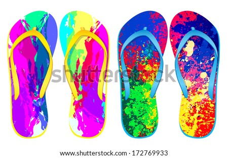 Vector colorful flip flops / ( Grunge Abstract Design ) / Beach Sandals
