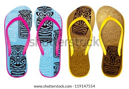 Vector colorful flip flops ( tiki mask mask design ) / Beach Sandals - stock vector