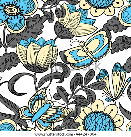Vector colorful floral seamless pattern with butterflies in doodle line art style - stock vector