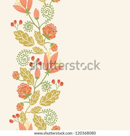 Vector colorful flowers and berries vertical seamless ornament pattern with hand drawn tulip flowers on light beige background - stock vector