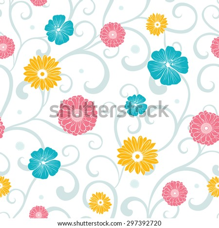 Vector Colorful Flowers on Swirly Braches Seamless Pattern - stock vector