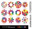 Vector COLORFUL Flowers Set. Design Element - stock vector