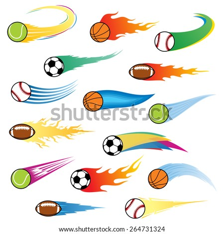 Vector colorful flying balls with motion trails - stock vector