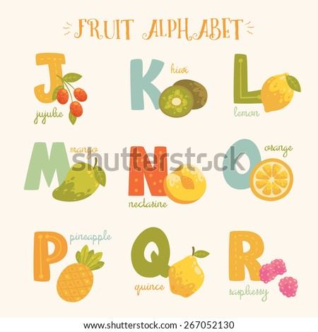 Vector colorful fruit alphabet. J, k, l, m, n, o, p, q, r letters. Jujube, kiwi, lemon, mango, nectarine, orange, pineapple, quince, raspberry in bright colors. - stock vector