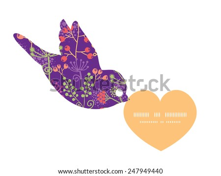 Vector colorful garden plants birds holding heart silhouette frame pattern invitation greeting card template - stock vector