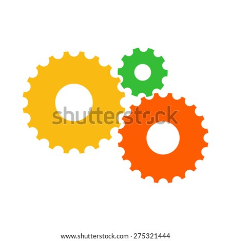 Vector colorful gears icon in flat design. Cogwheels connection