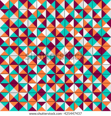 Vector colorful geometric pattern. Colorful geometric texture. Vector design background. Artistic vintage pattern. Business  cover. Vector light holiday card.  Orange background. Fashion background.