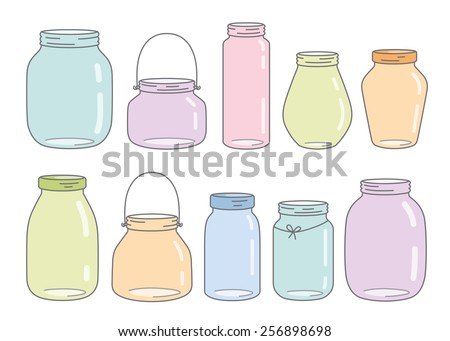 Vector colorful glass jars - stock vector