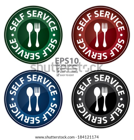 Vector : Colorful Glossy Style Circle Self Service Food Station Icon, Button, Sticker or Label Isolated on White Background  - stock vector