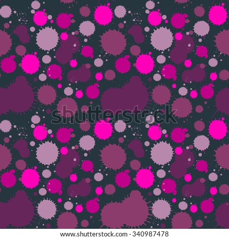 vector colorful grunge seamless pattern with ink blobs. Grunge spotted background with paint blobs. Backdrop with paint splashes. Colorful repetitive textile pattern - stock vector