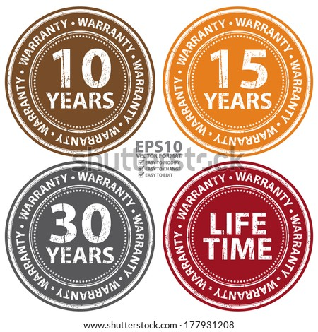 Vector : Colorful Grunge Style 10 Years - Lifetime Warranty Icon, Badge, Label or Sticker for Product Warranty, Quality Control, Quality Assurance, Quality Management, CRM or Customer Satisfaction - stock vector