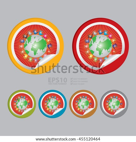 Vector : Colorful Hand Around The Earth Infographics Icon on Circle Peeling Sticker - stock vector